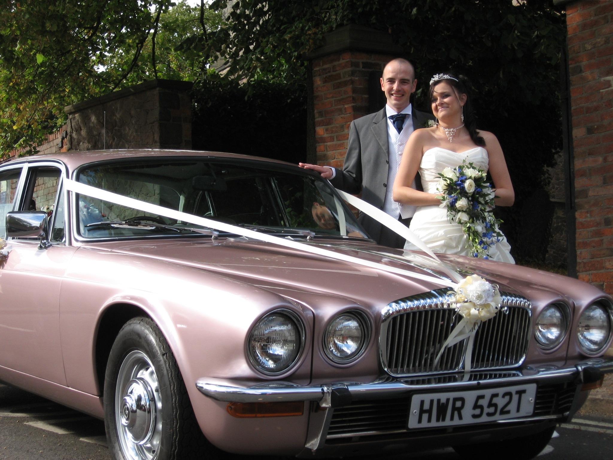 pink wedding car